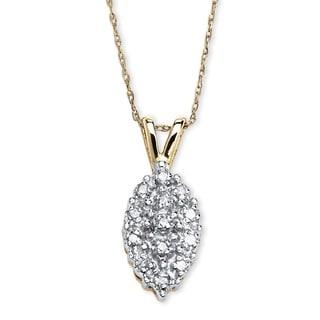 PalmBeach 10k Yellow Gold 1/10ct TDW Diamond Cluster Necklace (G-H, I2-I3)