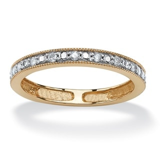 PalmBeach 10k Two-tone Gold 1/10ct TDW Diamond Wedding Band (G-H, I2-I3)