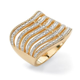 Isabella Collection Gold over Silver Diamond Accent Multi-row Diamond Ring