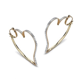 PalmBeach 1/10 TCW Round Diamond 18k Gold over Sterling Silver Free-Form Heart Hoop Earrings