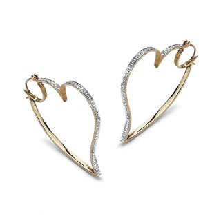 Isabella Collection Diamond Accent Heart Shape Hoop Earrings