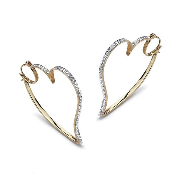 1/10 TCW Round Diamond 18k Gold over Sterling Silver Free-Form Heart Hoop Earrings 12846038