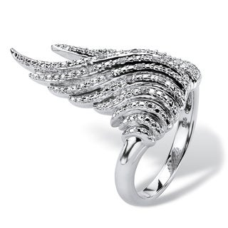 Isabella Collection Platinum over Silver Diamond Accent Wing Ring