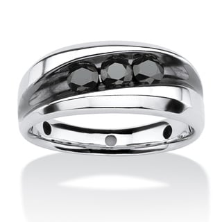 PalmBeach Men's 3/4 TCW Channel-Set Black Diamond Ring in Platinum over Sterling Silver