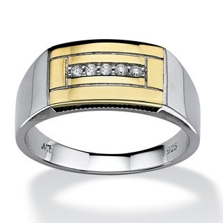 Isabella Collection Gold over Silver Men's 1/10ct TDW Diamond Ring (H-I, I2-I3)