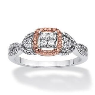 PalmBeach Platinum over Silver 1/10ct TDW Diamond Promise Ring (H-I, I2-I3)