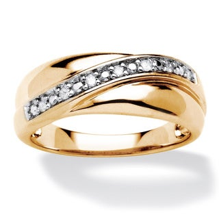 Isabella Collection Gold over Silver Men's 1/10ct TDW Diamond Wave Ring (H-I, I2-I3)