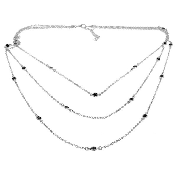 Sterling Silver Triple Chain Black Cubic Zirconia Necklace