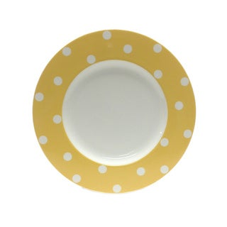 Red Vanilla Freshness Yellow Dots 11.25-inch Dinner Plates (Set of 6)