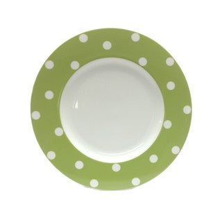 Red Vanilla Freshness Mix & Match Olive Green Dots 11.25-inch Dinner Plates (Set of 6)