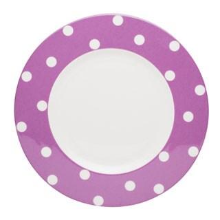 Red Vanilla Freshness Mix & Match Violet Dots 11.25-inch Dinner Plates (Set of 6)