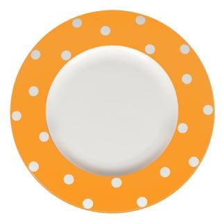 Red Vanilla Freshness Orange Dots 11.25-inch Dinner Plates (Set of 6)