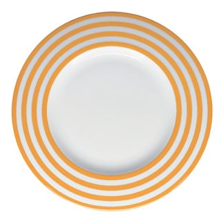 Red Vanilla Freshness Orange Lines 11.25-inch Dinner Plates (Set of 6)