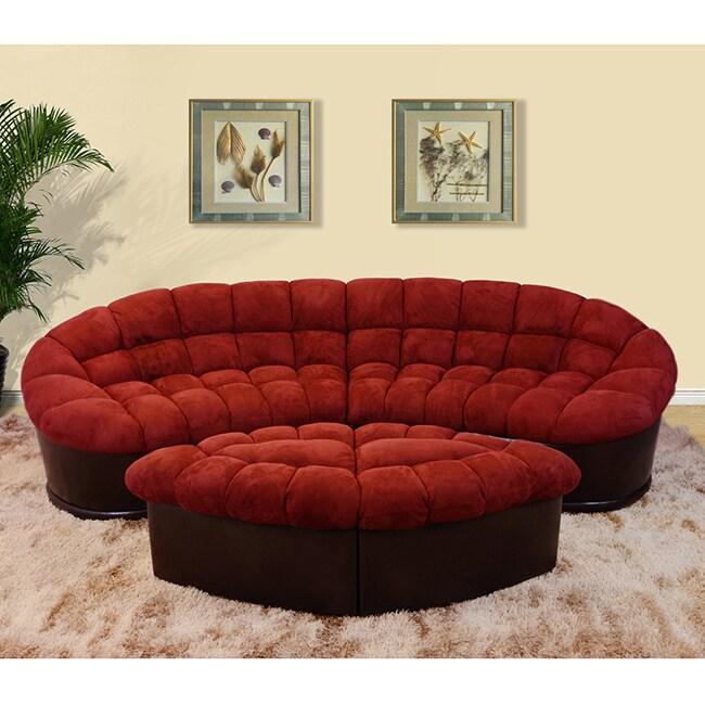 Overstock.com Diana 4-piece Burgundy Modern Microfiber Sofa and Ottoman Set at Sears.com