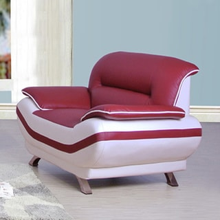Olivia Bonded Leather Red/ Off-white Chair