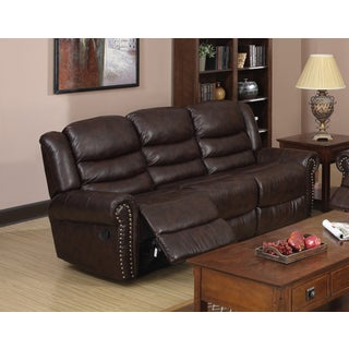 Godfather Brown Bonded Leather Reclining Sofa