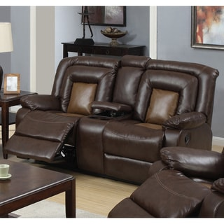 Gapson Brown Bonded Leather Central Console Reclining Loveseat