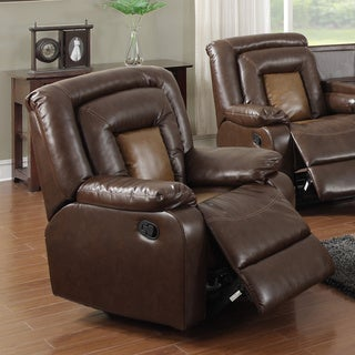 Gapson Brown Bonded Leather Reclining Rocker Chair