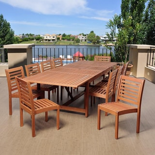 Amazonia Nadia 11-piece Dining Wood and Wicker Double Extendable Set