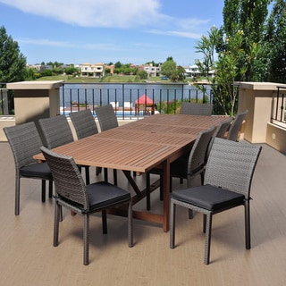 Amazonia Valerie 11-pc Wood & Wicker Double Extendable Dining Set