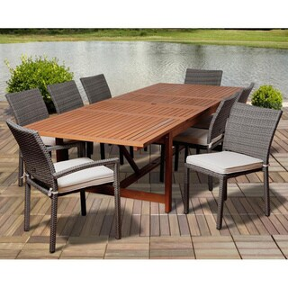Amazonia Darcy 9-piece Dining Wood/ Wicker Double Extendable Set