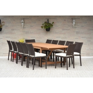 Amazonia Melanie 13-piece Dining Wood/ Wicker Double Extendable Set