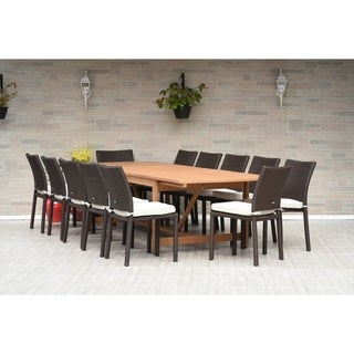 Melanie 13-piece Dining Wood/ Wicker Double Extendable Set