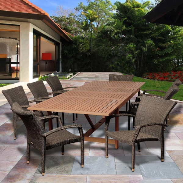 Amazonia Vera 9 piece Distressed Grey Brown Extendable Outdoor Dining Set