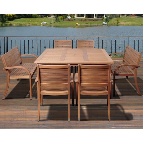 details about 9 piece brown eucalyptus wood outdoor dining set patio