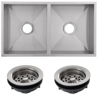 Ticor 32-inch 16-gauge Stainless Steel Zero Radius Double Bowl Undermount Kitchen Square Sink