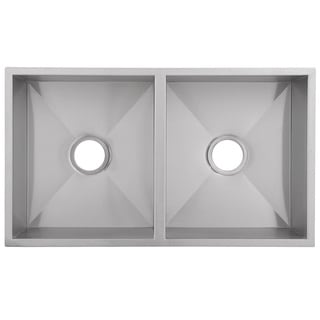 Ticor 32-inch 16-gauge Stainless Steel Double Bowl Zero Radius Undermount Square Kitchen Sink Center