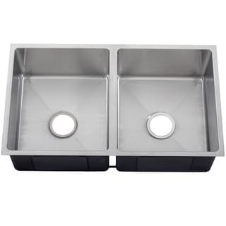 Ticor 32-inch 16-gauge Stainless Steel Double Bowl Tight Radius Undermount Square Kitchen Sink Cente