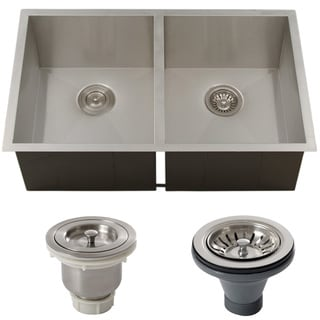 Ticor 32-inch 16-gauge Stainless Steel Double Bowl Zero Radius Undermount Square Kitchen Sink