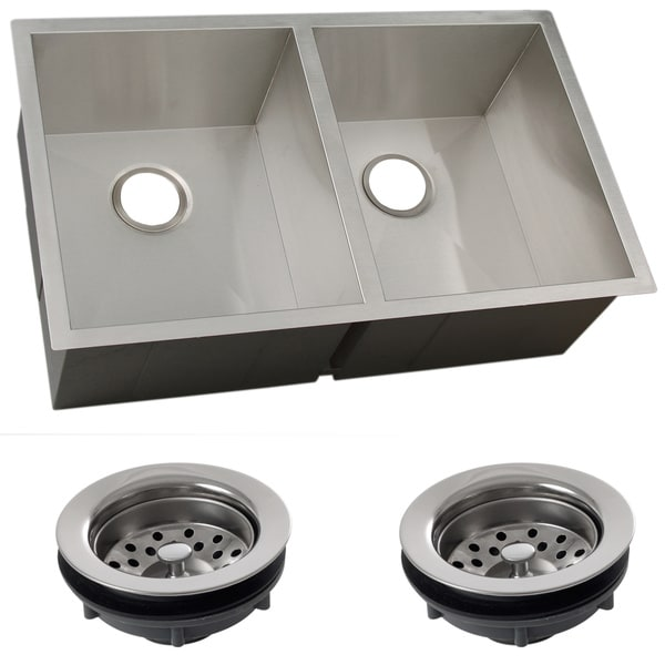 Square Kitchen Sink : ... 16-gauge Stainless Steel Double Bowl Undermount Square Kitchen Sink