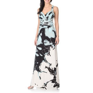 Cachet Women's Floral Print Low Back Gown