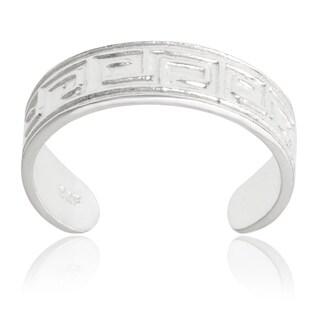 Journee Collection Sterling Silver Adjustable Greek Key Toe Ring