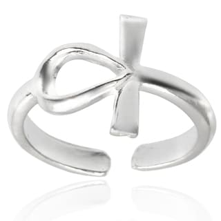 Tressa Collection Sterling Silver Adjustable Cross Toe Ring