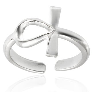 Journee Collection Sterling Silver Adjustable Cross Toe Ring