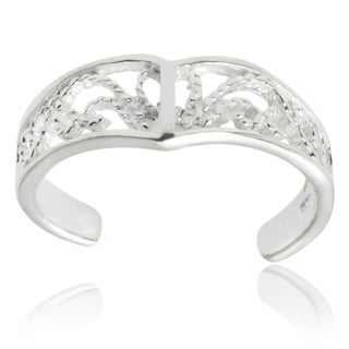 Journee Collection Sterling Silver Adjustable Filigree Toe Ring