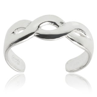 Journee Collection Sterling Silver Adjustable Twisted Toe Ring