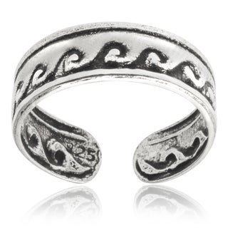 Journee Collection Sterling Silver Adjustable Oxidized Wave Toe Ring