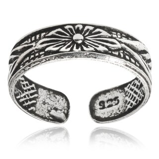 Tressa Collection Sterling Silver Adjustable Oxidized Flower Toe Ring