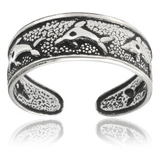 Tressa Collection Sterling Silver Oxidized Dolphin Toe Ring