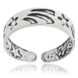 Journee Collection Sterling Silver Adjustable Oxidized Star Toe Ring