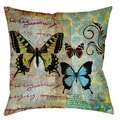 Homespun Butterflies 19-inch Throw Pillow