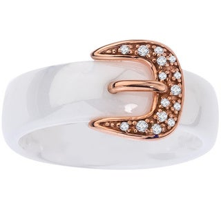 Ceramic Two-tone Sterling Silver Diamond Accent Buckle Ring