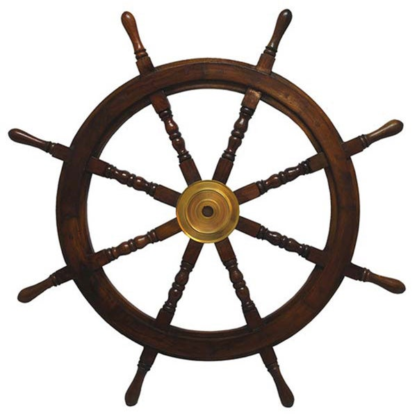 Large Hardwood Nautical Ship Wheel with Brass Center