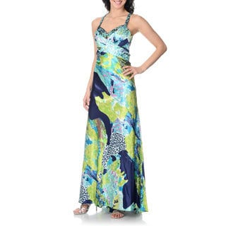 Cachet Women's Abstract Animal Print Gown