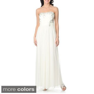 Cachet Women's Chiffon Stone Embellished Gown