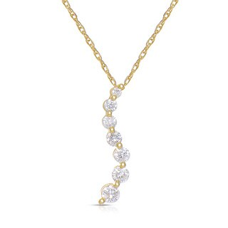 Eloquence 14k Yellow Gold 1/4ct TWD Journey Diamond Necklace (H-I, I2-I3)